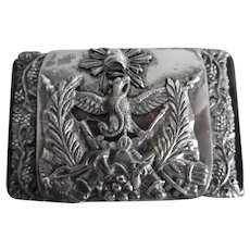 Military or Fraternal Silver Plate Belt Buckle