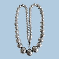 Vintage Navajo Sterling Silver Bead Necklace