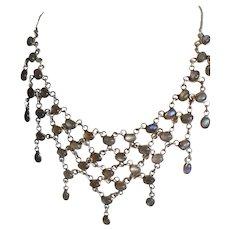 Lovely Sterling Silver Labradorite Festoon Necklace