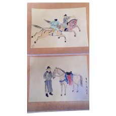 Pair Of Vintage Chinese Warriors Painted On Silks