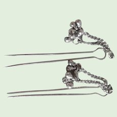 Vintage Pair of 800 Silver Hair Pins With Dangles