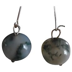 Antique Victorian Moss Agate Orb Earrings