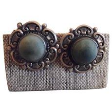 Vintage Sterling Mexican Pre Eagle Mark Screw Back Blue Stone Earrings