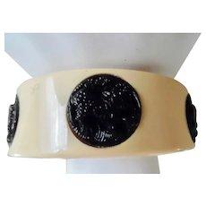 Vintage Art Deco Early Plastic Black and Cream Bangle Bracelet