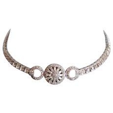 Vintage Art Deco Otis Sterling Silver Sparkling Rhinestone Choker Necklace