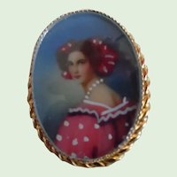Vintage G.F. Hand Painted Lady Pin/Pendant