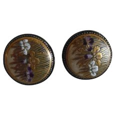 Vintage Japanese Pair Of Satsuma Button/ Cufflinks