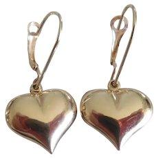 14K Yellow Puffy Heart Lever Back Earrings