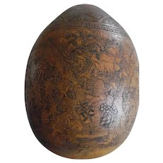 Vintage Intricately Carved Peruvian Story Teller Gourd