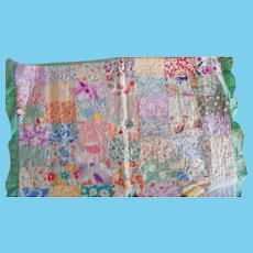 1930's Multi Prints Ruffled Edged Patch Work Doll Bed Quilt