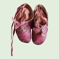 Darling Victorian Pink Leather Baby Shoes