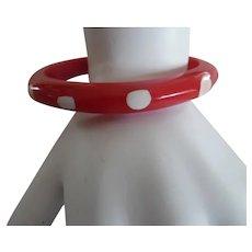 Vintage Art Deco Red Polka Dot Bakelite Bracelet