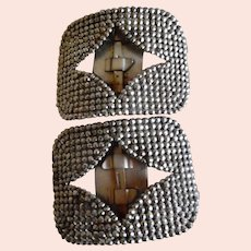 Wonderful Old Pair Of Steel Cut French Shoe Buckles