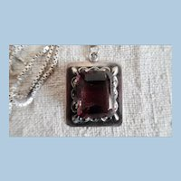 Vintage Mexican Sterling Silver Faux Amethyst Pendant Necklace