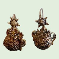Antique Victorian  Gold Plated Etruscan Revival Dangle Earrings