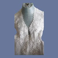Beautiful Antique Victorian  White Irish Lace Large Collar/Shawl