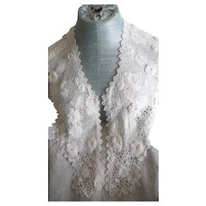 Beautiful Antique Victorian  White Irish Lace Large Collar/Shawl