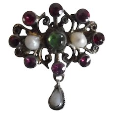 Antique Austro Hungarian Multi Gem Stone And Pearl Pin