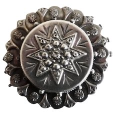 Antique Victorian British Sterling Silver Repousse Pin