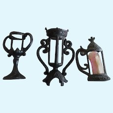 Victorian Black Metal Miniature Dollhouse Vases And Stein