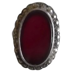 Vintage Art Deco 1930's Sterling Carnelian Marcasite Ring