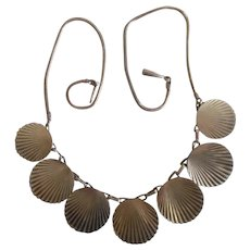 Vintage 1930's Art Deco Gold Plated Engraved Disc Necklace