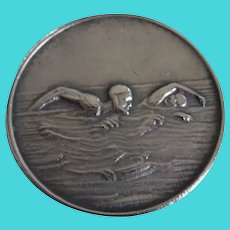 "Antique Sterling ""Plunging"" 4th M.S.S. Medal Swimmers"