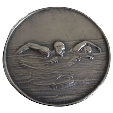 """Antique Sterling """"Plunging"""" 4th M.S.S. Medal Swimmers"""