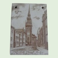 Antique Wedgwood Old North Church 1902 Calendar Tile Jones McDuffee & Stratton Co.