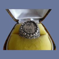Vintage Sterling Silver Foreign Coin Ring