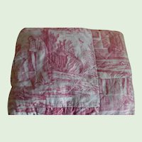Early 19th Century Red Toile Hand Quilted Pillows