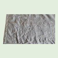 Beautiful Vintage 1930's Cream Silk Embroirdered Table Cloth