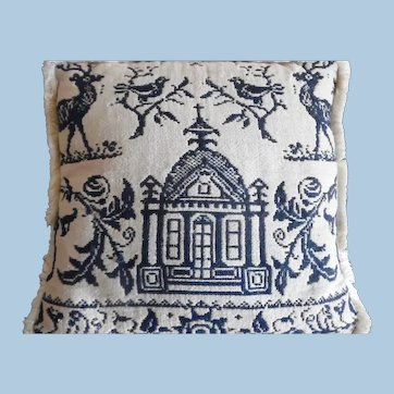 Antique 1800's Woolen  Figural Jacquard Blue and White Coverlet  Pillow