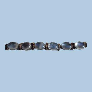 Beautiful Vintage Nicky Butler Sterling Silver Moonstone Link Bracelet