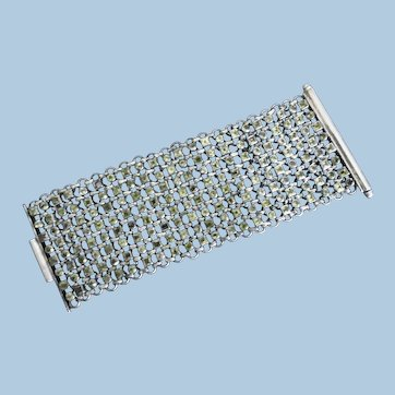 Fabulous Huge Sterling Silver Faceted Peridot Bracelet