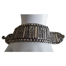 Beautiful Ethnic Middle Eastern Solid Sterling Silver Fancy Link Bracelet