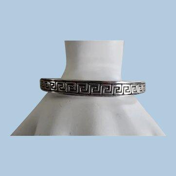 Vintage Sterling Silver Greek Key Hinged Bangle Bracelet