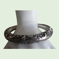 Antique Victorian Sterling Silver Repousse Bangle Bracelet