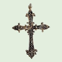 Antique Victorian Etruscan Revival Gold Filled Cross Pendant