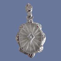 Beautiful Antique Edwardian 14K White Gold Camphor Glass Diamond Pennant