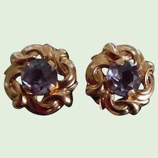 Vintage Pair of 14K yellow Gold Amethyst Post Earrings