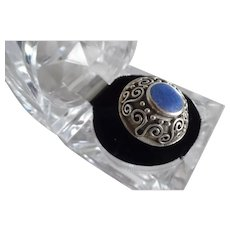 Vintage Sterling Silver Fancy Artist Signed with Blue Stone