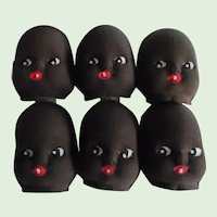 Vintage Set of 10 Cloth Darling Black Baby Doll Faces