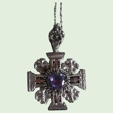 Vintage Sterling Silver and Amethyst Stone Maltese Cross Necklace