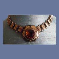 Vintage Coro Victorian Revival Book Chain Topaz Paste Necklace