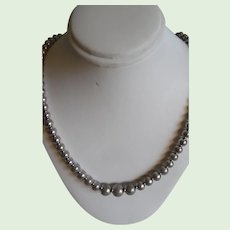 Vintage Sterling Silver Graduated Beads  Necklace