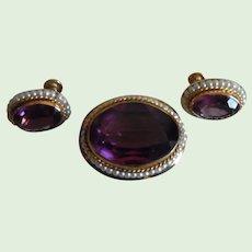 Vintage Danecraft G.F. Faux Amethyst & Seed Pearl Pin & Earrings Set