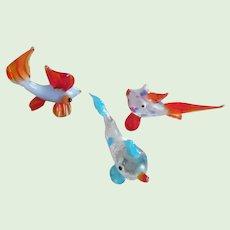 Vintage Set of Three Hand Blown Mini Glass Fish