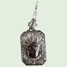Vintage Art Deco Camphor Glass Sterling Pendant Necklace Native American Princess