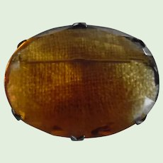 Lovely Old Vintage Sterling Silver Large Oval Faceted Topaz Colored Glass Pin